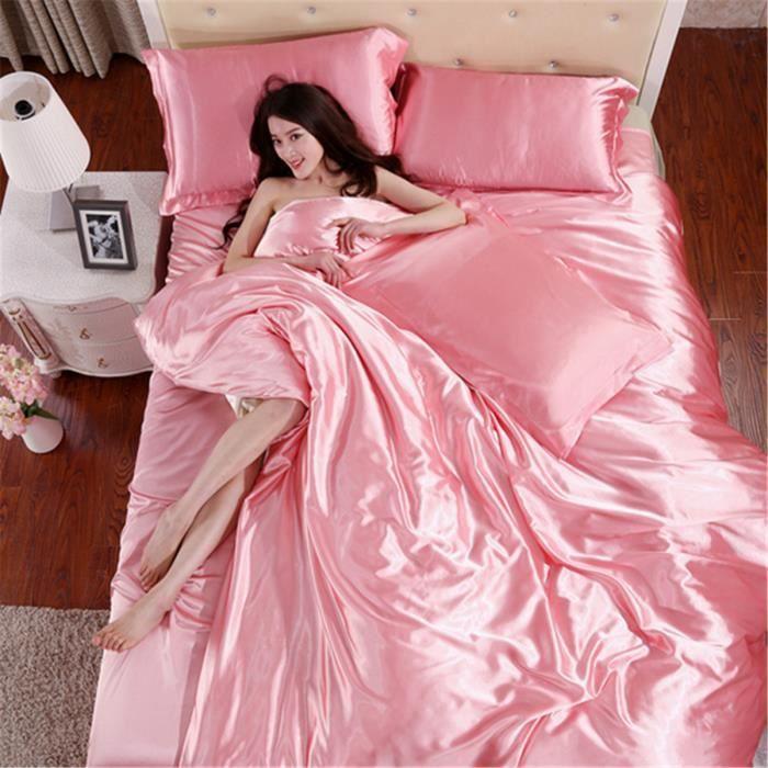 parure de couette satin parure de lit rose satin 6 pcs achat vente parure de couette. Black Bedroom Furniture Sets. Home Design Ideas