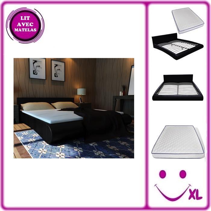 Lit design noir 140 x 200 cm en similicuir avec matelas for Lit design complet