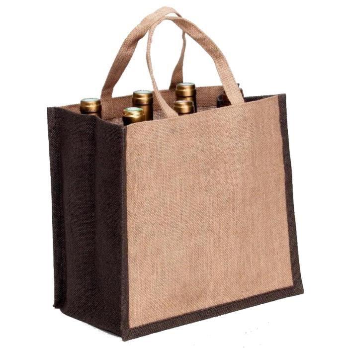 sac 6 bouteilles en toile de jute marron et naturel achat vente porte bouteille sac 6. Black Bedroom Furniture Sets. Home Design Ideas