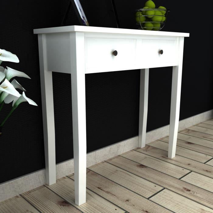 Coiffeuse en bois blanche avec deux tiroirs achat vente table basse coiff - Table basse blanche avec tiroir ...
