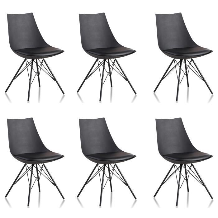 Lot 6 chaises salle manger design noires eiffel for Chaise design plastique salle a manger