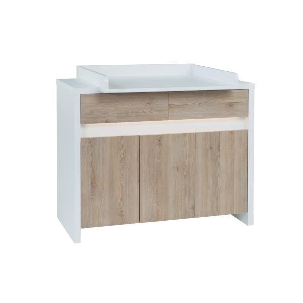 Commode langer b b plan te blanche et marron achat for Commode table a langer blanche
