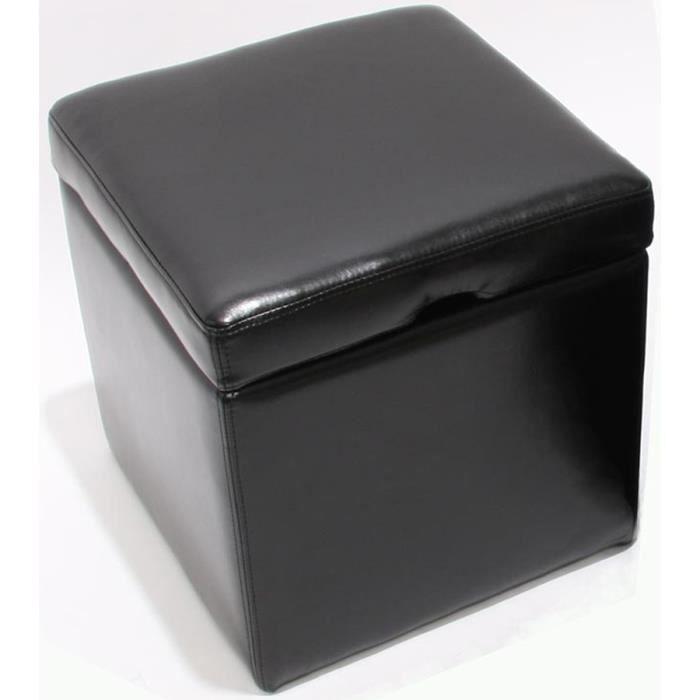pouf bo te de rangement onex cube en cuir h 45 achat vente pouf poire cuir plastique. Black Bedroom Furniture Sets. Home Design Ideas