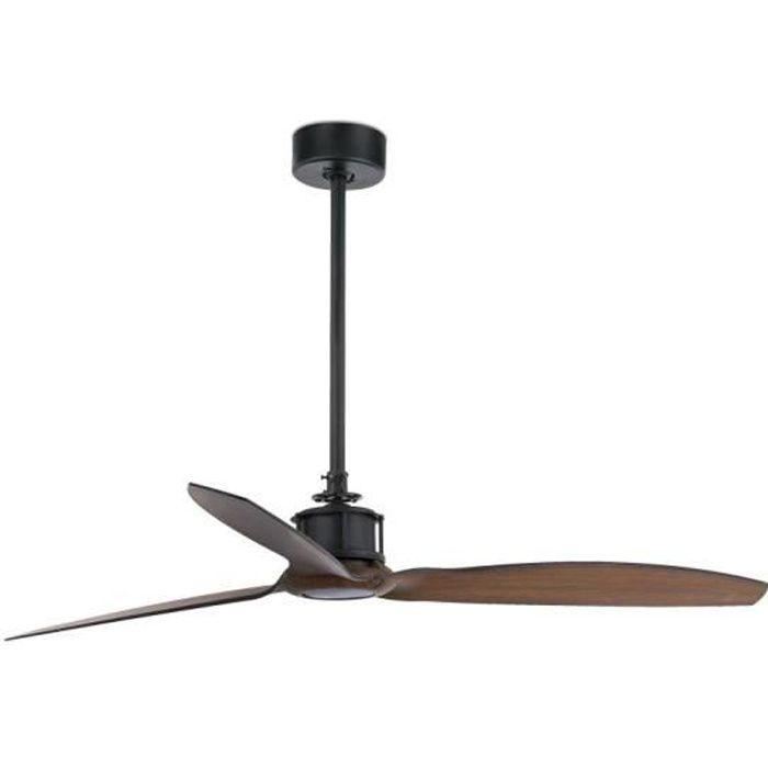 Just fan 33395 faro ventilateur de plafond noir bois avec moteur dc achat vente ventilateur - Ventilateur de plafond industriel ...