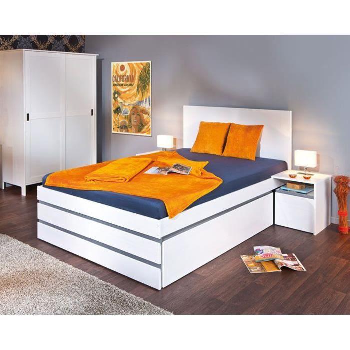 lit multi rangement coloris blanc gris couchage 140 x 200 cm dim 140 x 205 x 100 cm achat. Black Bedroom Furniture Sets. Home Design Ideas