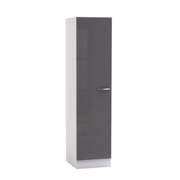 Colonne septime 50x60 gris brillant blanc mat achat for Petit meuble gris et blanc