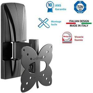 MELICONI 100 ST Support TV mural inclinable Slim - TV LCD / LED / Plasma de 14 à 25??: 36 à 63 cm - Poids max. supporté : 20 Kg - VESA : 100 - Compatible avec les TV incurvées - Inclinable : + 20° Rotation : +/- 25° - Distance du mur mini 3,6 cm et max 9,