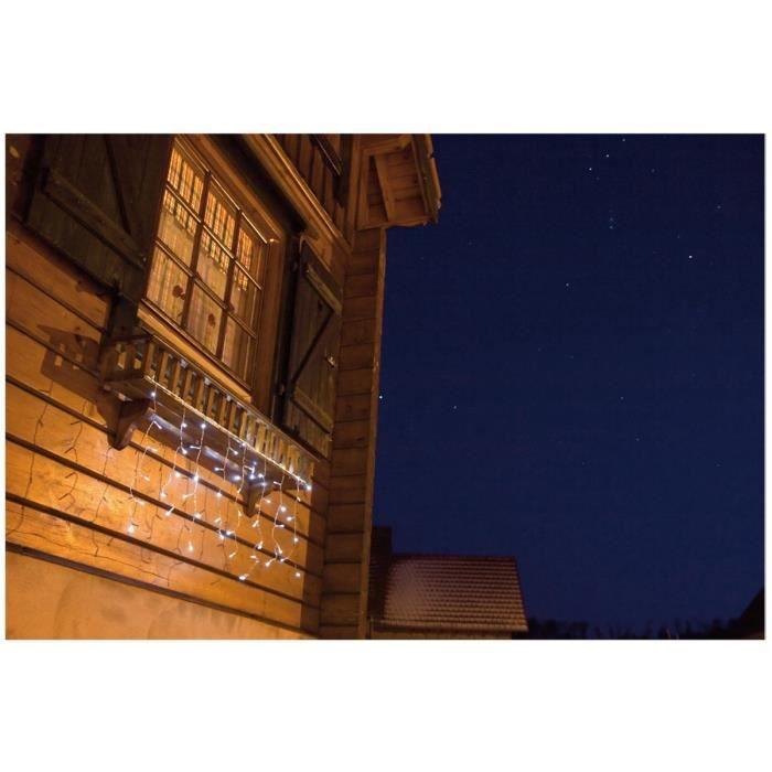 Rideau lumineux de no l ext rieur blanc 1mx2m 80 led for Rideau noel exterieur