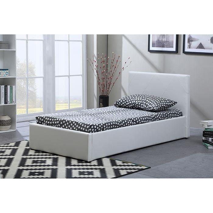java lit coffre enfant 90 x 190 cm blanc achat vente structure de lit java lit coffre enfant. Black Bedroom Furniture Sets. Home Design Ideas