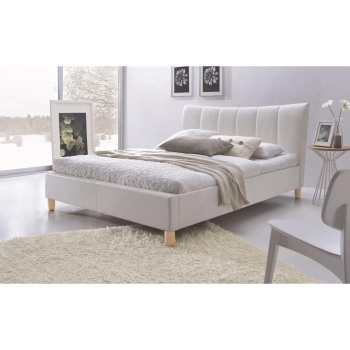 Sweety lit adulte 160x200 cm sommier blanc achat vente structure de l - Cdiscount sommier 160x200 ...