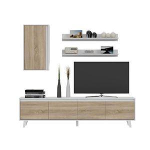 meuble tv chene blanc achat vente meuble tv chene blanc pas cher les soldes sur cdiscount. Black Bedroom Furniture Sets. Home Design Ideas