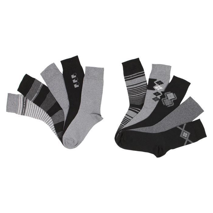 lot de 10 paires de chaussettes fantaisie homme noir et. Black Bedroom Furniture Sets. Home Design Ideas