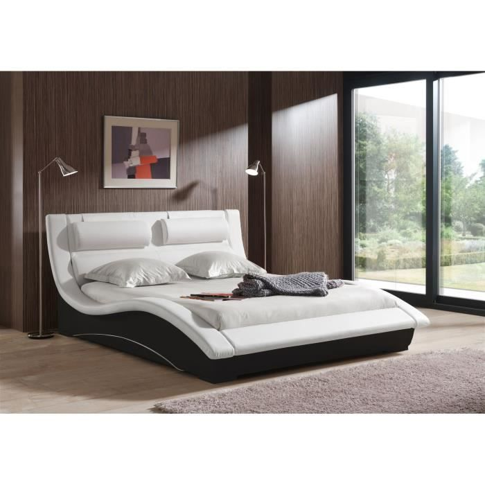 Beti lit adulte sommier 140 cm blanc noir piedsled achat vente structur - Ensemble de lit adulte ...