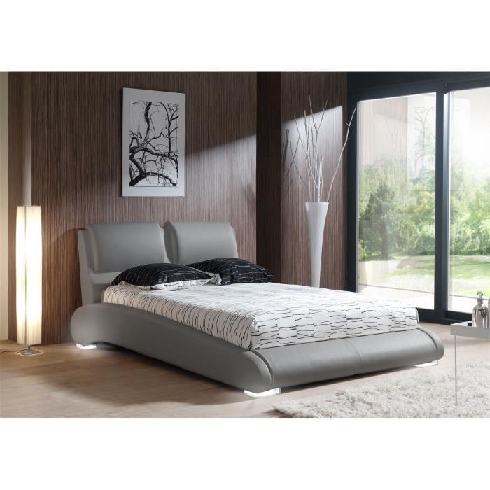 maxi lit adulte sommier 140x190 cm gris pieds led achat vente structure de lit maxi lit. Black Bedroom Furniture Sets. Home Design Ideas