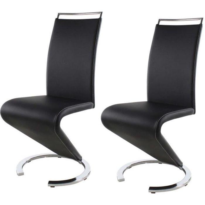 Sidney lot de 2 chaises de salle manger achat vente for Chaise de salle a manger a roulette