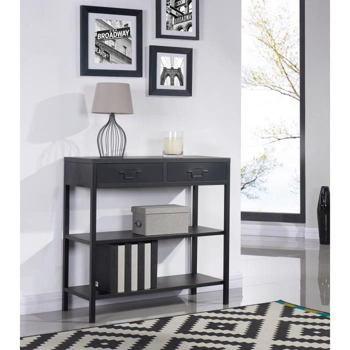 camden console industriel noir laqu l 90 cm achat. Black Bedroom Furniture Sets. Home Design Ideas