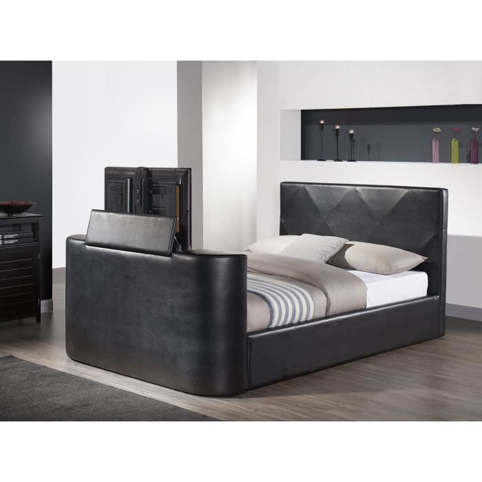 hollywood lit tv 160x200 cm sommier noir achat vente structure de lit hollywood lit tv. Black Bedroom Furniture Sets. Home Design Ideas