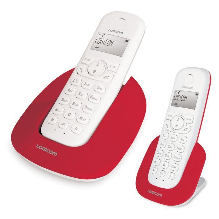 Logicom manta 250 rouge achat t l phone fixe pas cher avis et meilleur prix cdiscount - Telephone fixe sans fil longue portee ...