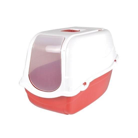 Maison de toilette pour chat rouge et couvercle blanch h 57 x l 39 x l 41 cm - Couvercle de toilette ...