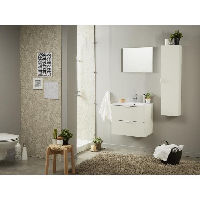 Sigma salle de bain compl te simple vasque l 61 cm blanc for Salle de bain complete