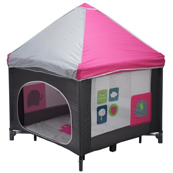 bambisol parc pliant cabane rose noir gris et rose achat vente parc b b 3159059016764. Black Bedroom Furniture Sets. Home Design Ideas