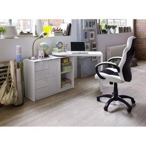 Bureau blanc laque achat vente bureau blanc laque pas cher cdiscount for Bureau blanc design contemporain