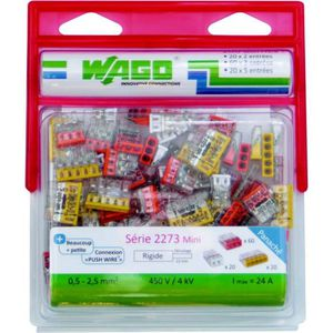 WAGO Pack de 100 bornes 2273 20 x 2 entrées 60 x 3 entrées 20 x 5 entrées