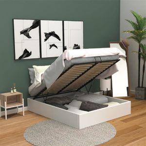 Structure de lit achat vente structure de lit pas cher cdiscount - Lit double avec coffre de rangement ...