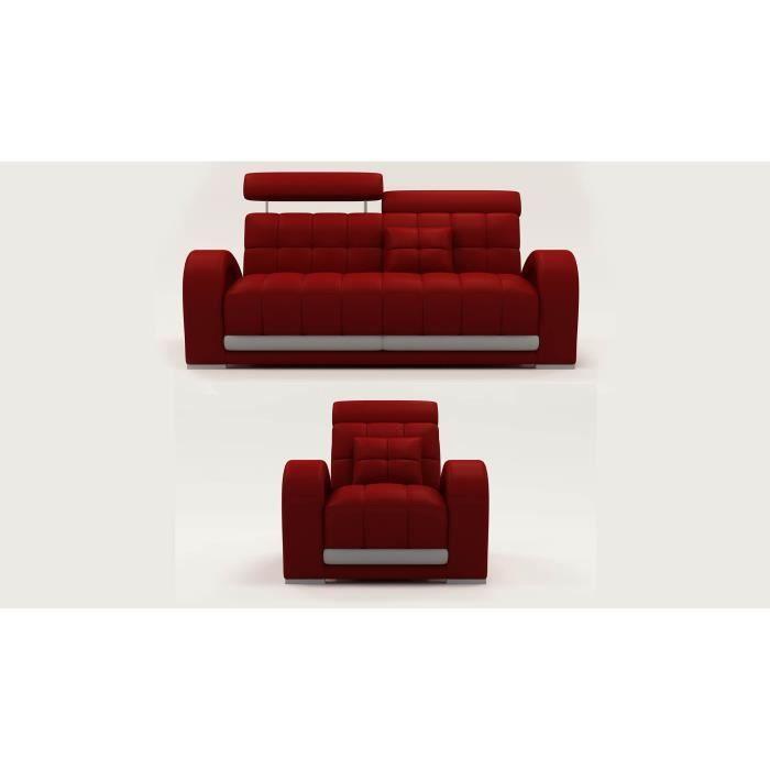 Ensemble canap 3 1 places en cuir rouge et gris carmen achat vente canap - Ensemble canape cuir ...