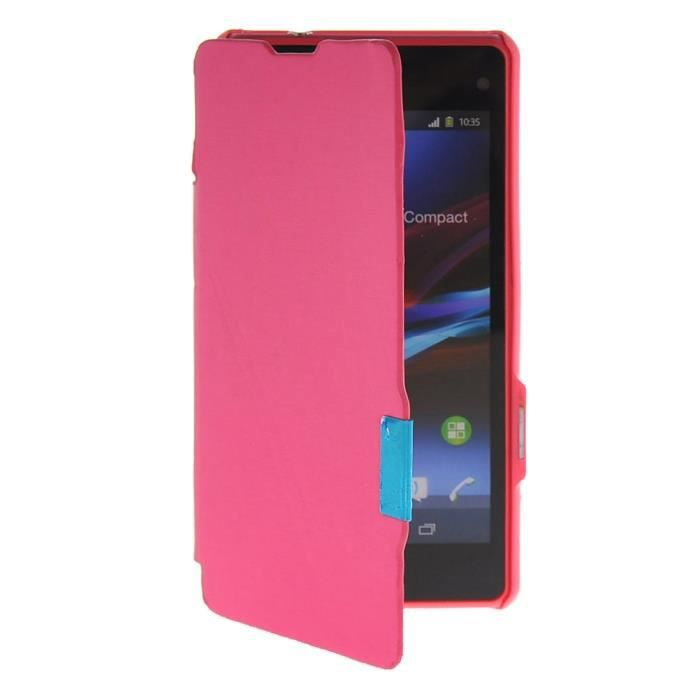 Coque housse tui sony xperia z1 compact rose achat for Housse xperia x compact