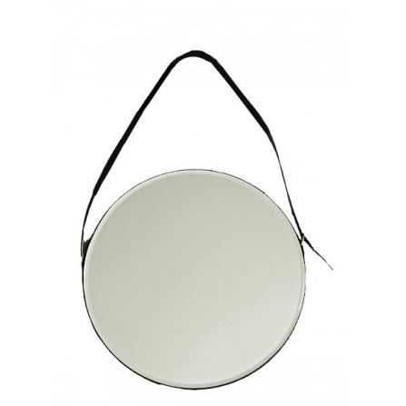 Miroir rond supendu lani re en similicuir noir achat for Miroir rond xxl