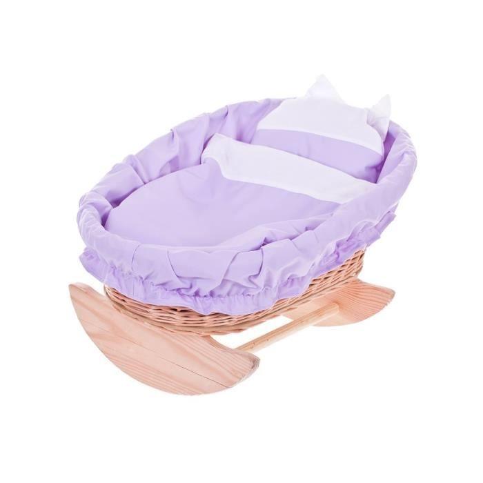 berceau en osier lit poupee berceau bascule en bois tissu violet blanc achat vente. Black Bedroom Furniture Sets. Home Design Ideas