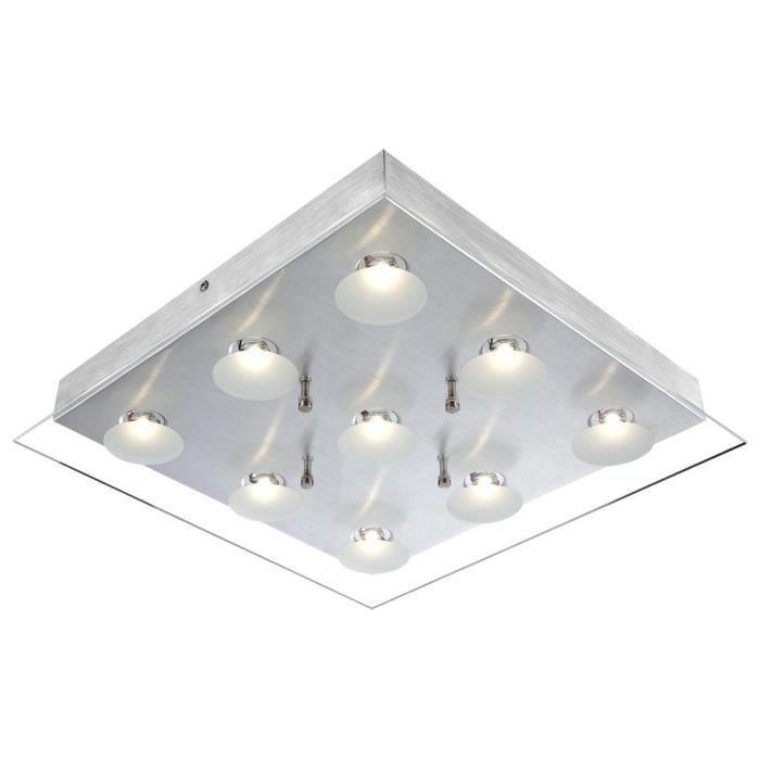 clairage plafonnier del luminaire plafond verre aluminium lampes couloir salle de s jour. Black Bedroom Furniture Sets. Home Design Ideas