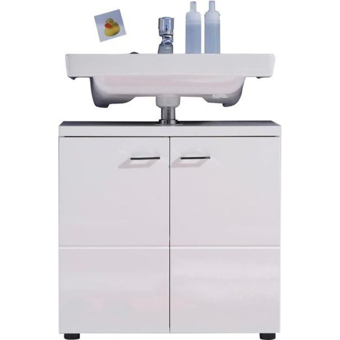Nightlife meuble sous lavabo 63 cm blanc achat vente for Meuble sous lavabo une porte