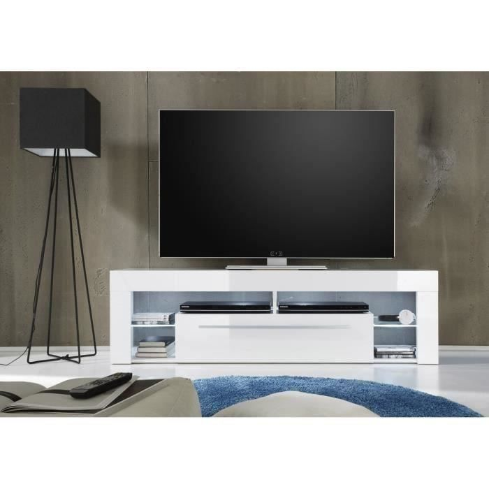 Meuble Tv Oakland Eclairage Led Taupe Et Blanc Pictures to pin on ...
