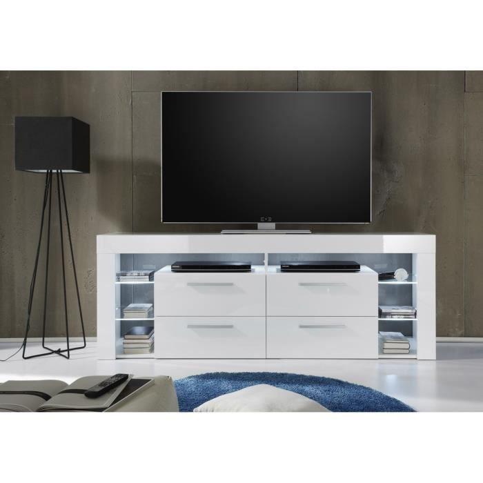 Score meuble tv avec clairage led 179cm blanc brillant for Kikua meuble tv 130 cm blanc brillant