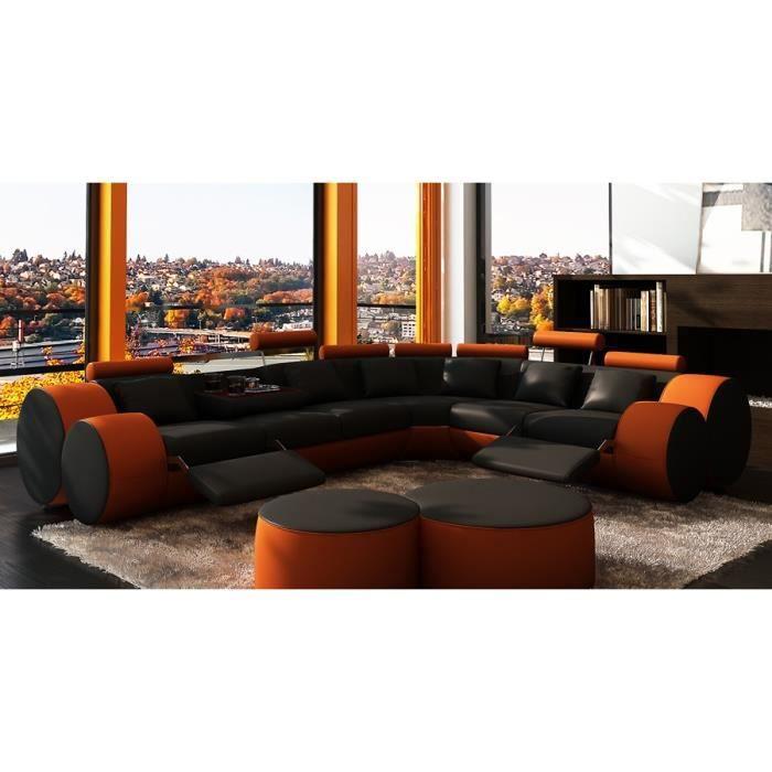 canap d 39 angle en cuir relax noir et orange design achat vente canap sofa divan. Black Bedroom Furniture Sets. Home Design Ideas