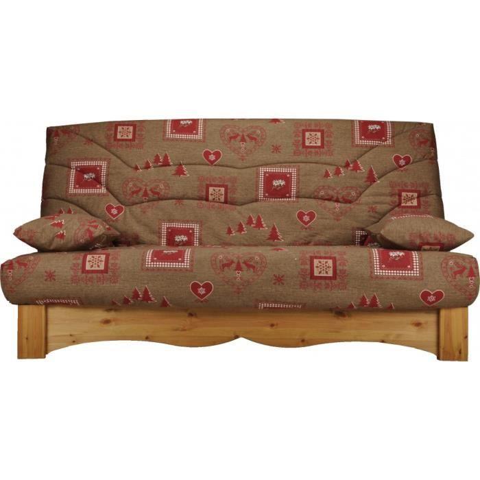 banquette clic clac tissu chalet brun socle en pin massif matelas bultex mousse achat vente. Black Bedroom Furniture Sets. Home Design Ideas