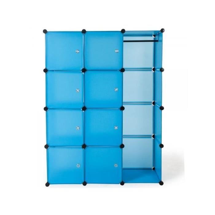 Armoire de rangement meuble penderie tag re bleu 2008043 achat vente arm - Cdiscount armoire de rangement ...