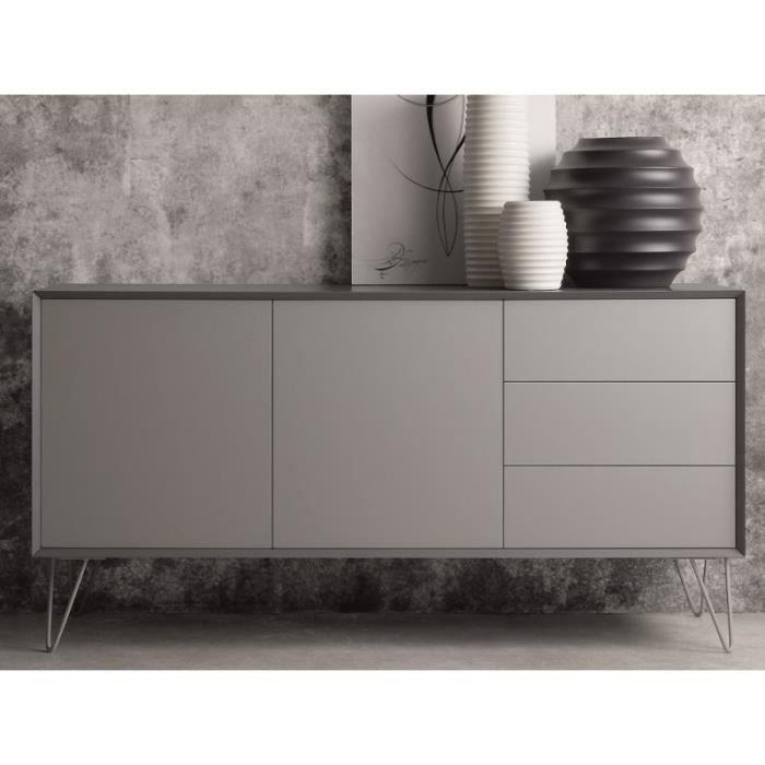 buffet bas noir mat. Black Bedroom Furniture Sets. Home Design Ideas