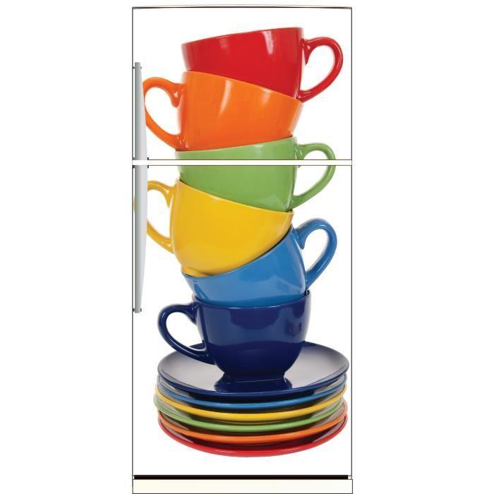 sticker frigo d co cuisine tasses caf de couleurs dimensions achat vente stickers cdiscount. Black Bedroom Furniture Sets. Home Design Ideas