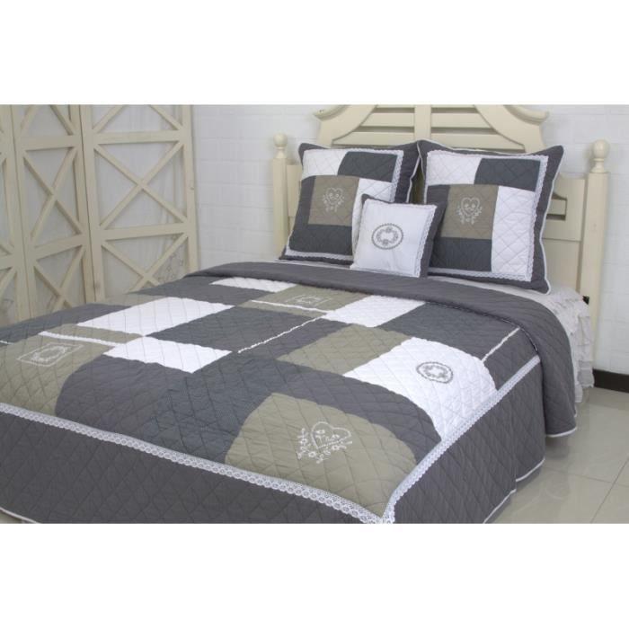 couvre lit boutis brod 2 places audrey gris achat. Black Bedroom Furniture Sets. Home Design Ideas