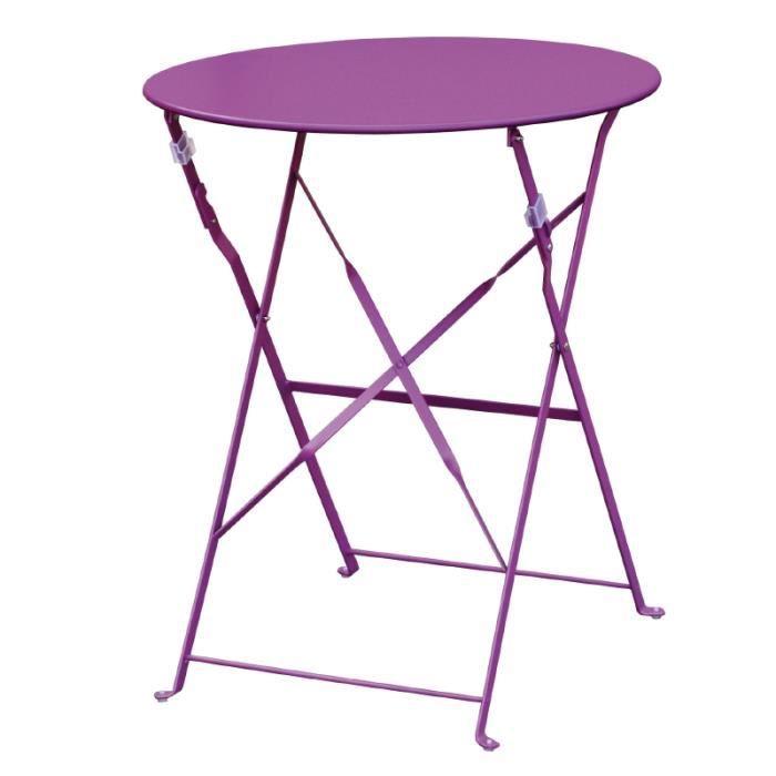 Table de terrasse moderne coloris violet achat vente table de jardin tabl - Table de jardin moderne ...