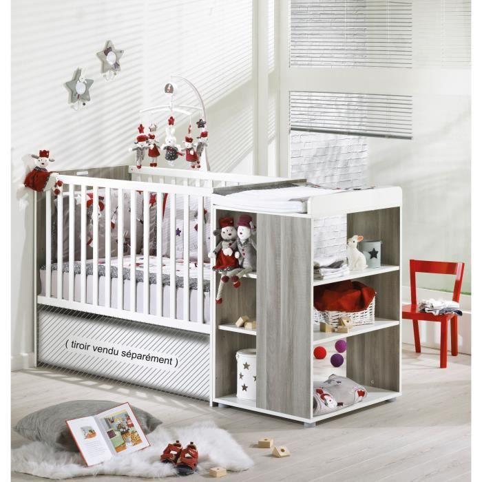 sauthon loulou lit b b combin evolutif 60x120 cm marron et blanc achat vente lit b b. Black Bedroom Furniture Sets. Home Design Ideas