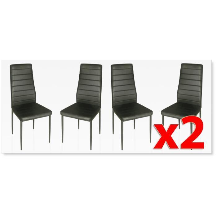 Lot de 8 chaises design noires achat vente chaise - Lot de chaises noires ...