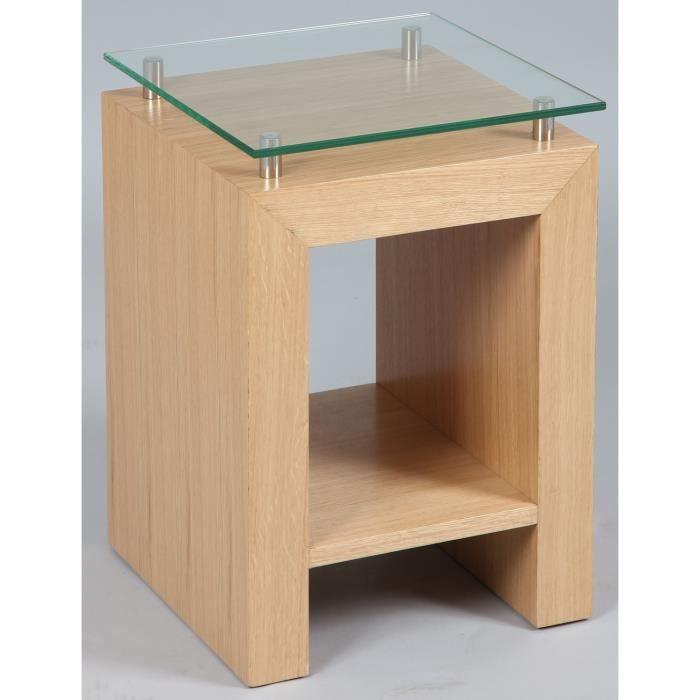 petite sellette en bois et verre coloris ch ne dim h 500 x l 350 x p 350 mm achat vente. Black Bedroom Furniture Sets. Home Design Ideas