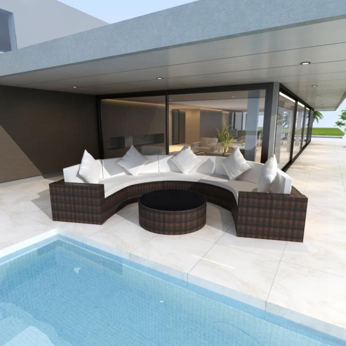 vidaxl salon de jardin en rotin demi cercle marron achat vente salon de jardin vidaxl salon. Black Bedroom Furniture Sets. Home Design Ideas