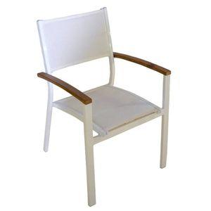 Chaise de jardin aluminium bois achat vente chaise de for Chaise de parterre
