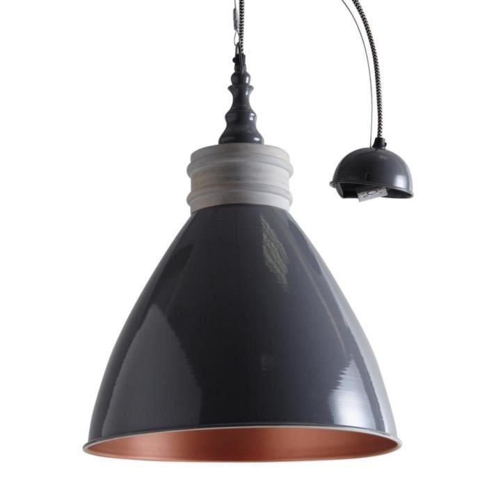 suspension en m tal laqu et bois gris fonc achat vente suspension en m tal laqu e. Black Bedroom Furniture Sets. Home Design Ideas