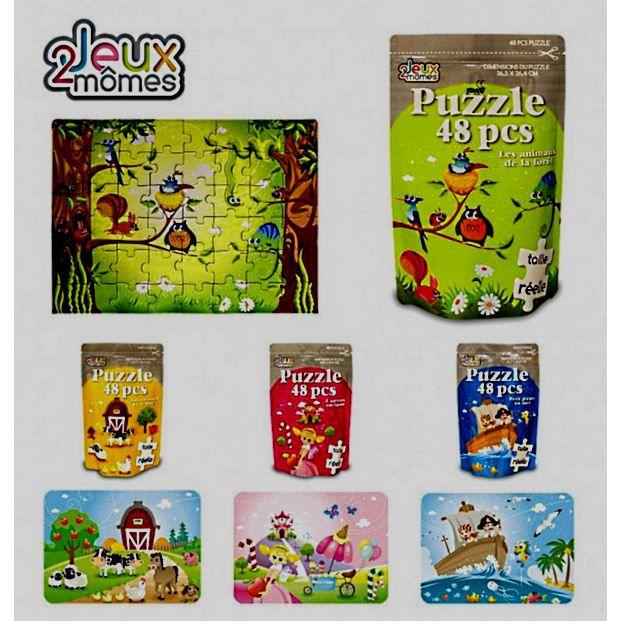 4 puzzle enfant 48 pieces princesse pirate animaux achat vente puzzle cdiscount. Black Bedroom Furniture Sets. Home Design Ideas